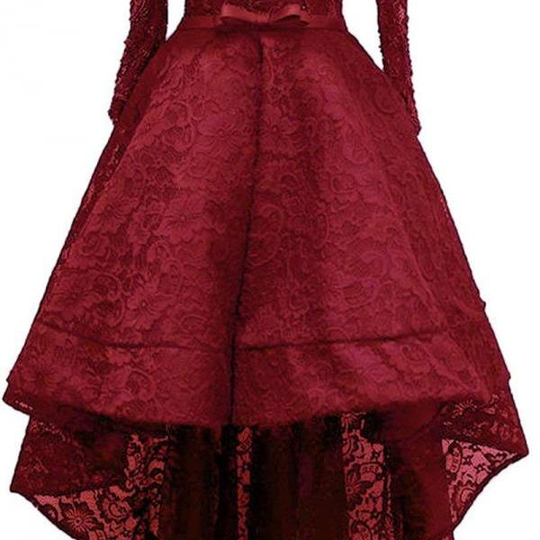 A-line Scoop Neck Long Sleeve Burgundy Homecoming Dresses