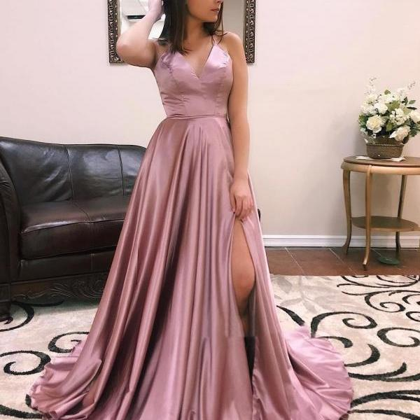 Pink Satin Prom Dresses,Long Evening Gown,Criss Back Party Gown
