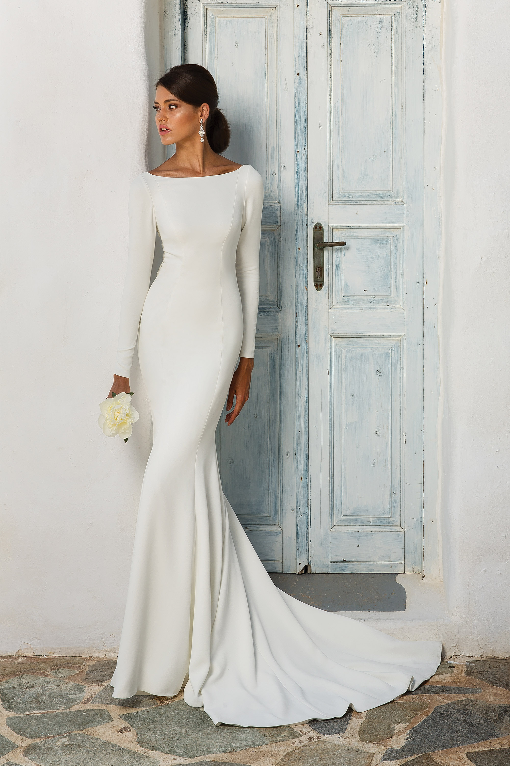 Bateau White Satin Mermaid Wedding Dress With Long Sleeves And