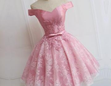 Custom Made A-line/Princess Party Prom Dresses Short Pink Dresses With Lace Up Bowknot Mini Great Party Dresses