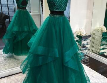Sexy Two Pieces Emerald Green Open Back Evening Prom Dresses, Cheap Custom Sweet 16 Dresses